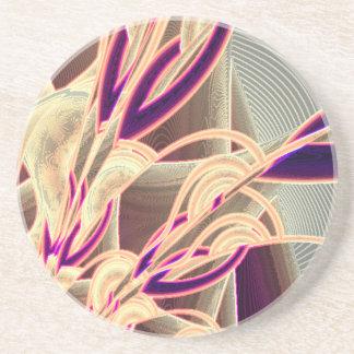 Práctico de costa floral del art déco posavasos de arenisca