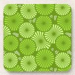 Práctico de costa floral retro hermoso, verde del  posavasos de bebidas