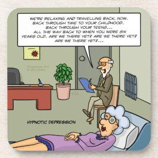 Práctico de costa hipnótico de la depresión posavasos