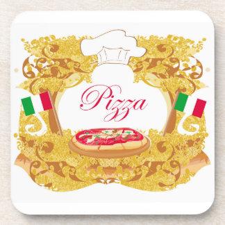 Práctico de costa italiano del corcho de la pizza posavasos de bebida