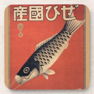 Práctico de costa japonés de los pescados del vint posavasos