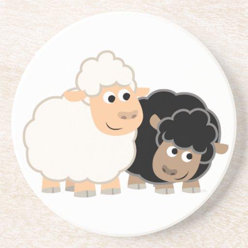 Práctico de costa lindo de dos ovejas del dibujo a posavasos manualidades