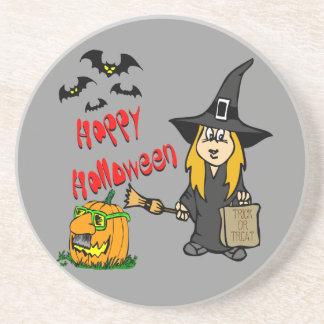 Práctico de costa lindo de la bruja de Halloween Posavasos Personalizados