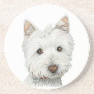 Práctico de costa lindo del arte del perro de West Posavasos Para Bebidas