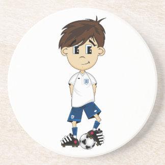Práctico de costa lindo del muchacho del fútbol de posavasos manualidades