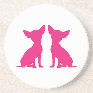 Práctico de costa lindo del perro rosado de la chi posavasos personalizados