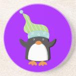 Práctico de costa lindo del regalo del pingüino posavasos manualidades