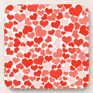 Práctico de costa modelado corazón rojo posavasos de bebidas