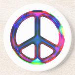 Práctico de costa multicolor del signo de la paz posavasos personalizados