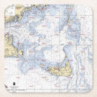 Práctico de costa náutico del mapa de Nantucket Posavasos Desechable Cuadrado