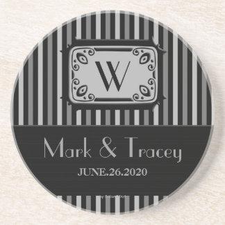 Práctico de costa negro/blanco del boda del monogr posavasos diseño