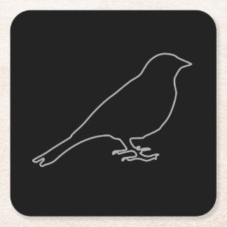 Práctico de costa negro del pájaro posavasos personalizable cuadrado