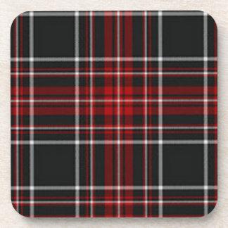 Práctico de costa negro y rojo de la tela escocesa posavaso