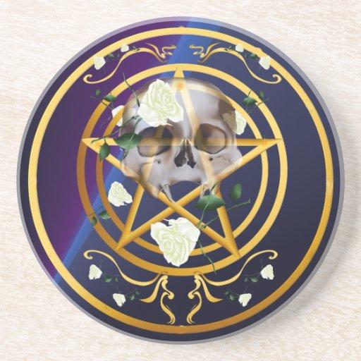Práctico de costa Pentagram-Cráneo-Blanco de los r Posavaso Para Bebida