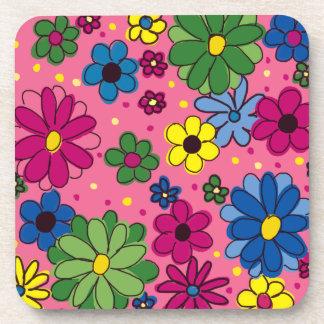Práctico de costa plástico duro floral lindo, rosa posavasos de bebida