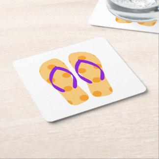 Práctico de costa púrpura anaranjado del flip-flop posavasos de cartón cuadrado