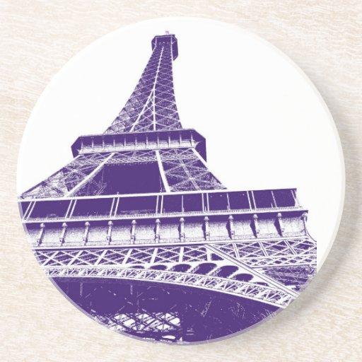 Práctico de costa púrpura de la torre Eiffel Posavasos Personalizados