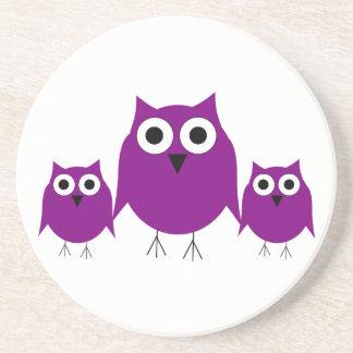 Práctico de costa púrpura de los búhos posavasos personalizados
