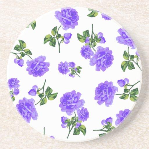 Práctico de costa púrpura de los rosas del jardín  posavasos personalizados
