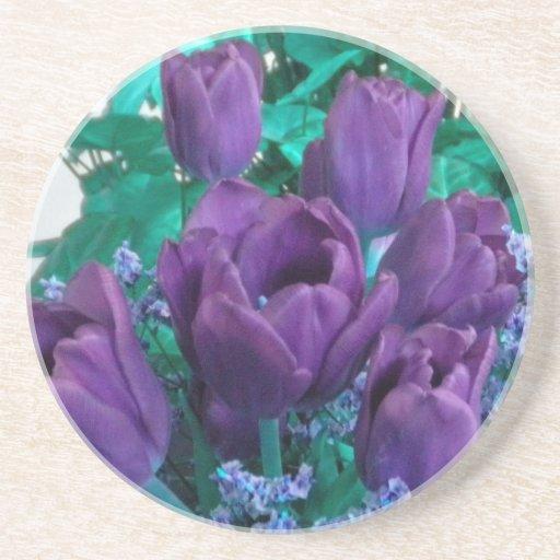 Práctico de costa púrpura de los tulipanes posavasos de arenisca