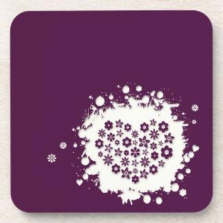 Práctico de costa púrpura del chapoteo del amor (6 posavasos de bebida