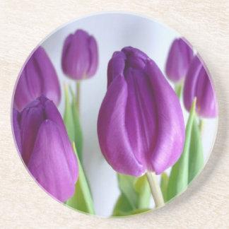 Práctico de costa púrpura del tulipán posavasos cerveza
