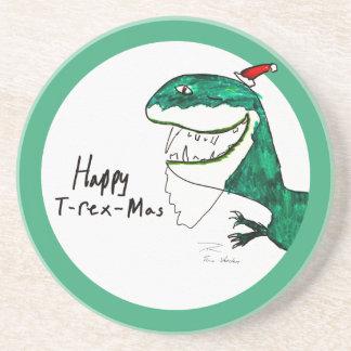 Práctico de costa redondo del navidad T-Rex-Mas Posavasos Personalizados