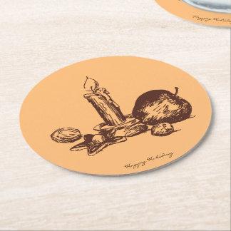 Práctico de costa redondo dibujado mano elegante posavasos personalizable redondo
