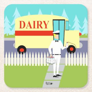 Práctico de costa retro del papel del lechero de posavasos personalizable cuadrado