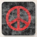 Práctico de costa rojo apenado del signo de la paz posavaso