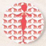 Práctico de costa rojo de la bebida del elefante posavasos personalizados