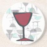 Práctico de costa rojo de la copa de vino posavasos personalizados