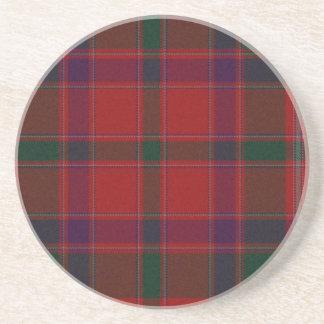 Práctico de costa rojo de la tela escocesa posavaso para bebida