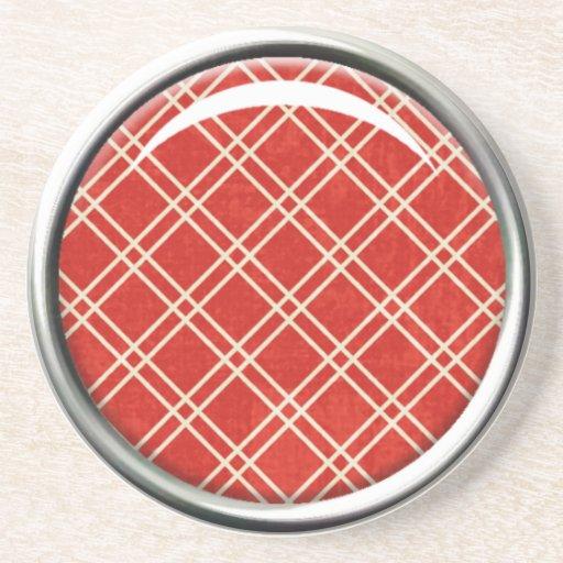 Práctico de costa rojo de la tela escocesa posavasos manualidades