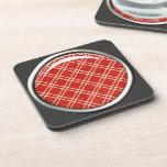 Práctico de costa rojo del corcho de la tela escoc posavaso