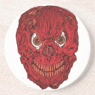 Práctico de costa rojo del cráneo del asesino posavasos cerveza