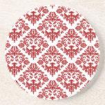 Práctico de costa rojo elegante del damasco posavasos personalizados