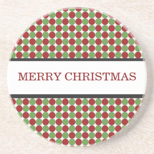 Práctico de costa rojo y verde del navidad de los  posavasos personalizados