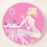 Práctico de costa rosado de la belleza posavasos personalizados