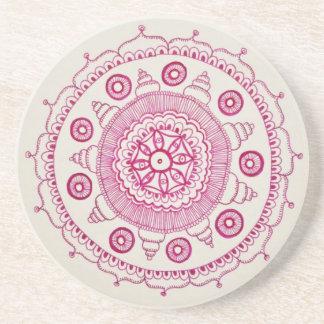Práctico de costa rosado de la mandala posavaso para bebida