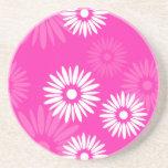 Práctico de costa rosado de las flores del verano posavasos personalizados