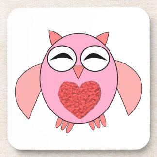 Práctico de costa rosado del búho del corazón del  posavaso