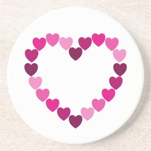 Práctico de costa rosado del corazón de los corazo posavasos para bebidas