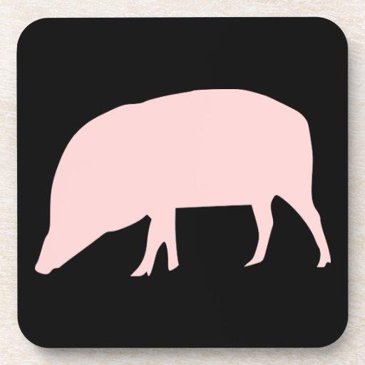 Práctico de costa rosado del corcho del cerdo posavasos de bebidas