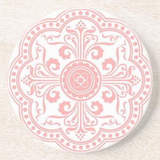 Práctico de costa rosado del estampado de flores posavasos manualidades