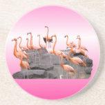 Práctico de costa rosado del flamenco posavasos personalizados