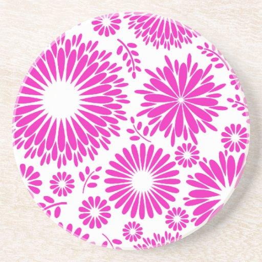 Práctico de costa rosado floral del vintage posavasos manualidades