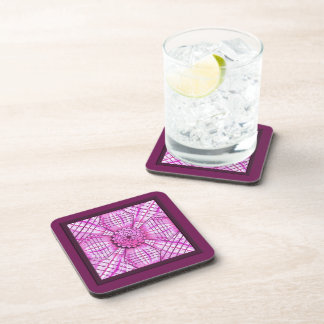 Práctico de costa rosado y púrpura de la mandala d posavasos de bebida
