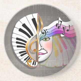 Práctico de costa - teclado de piano de la máscara posavasos personalizados
