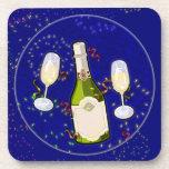 Práctico de costa trasero del corcho - Feliz Año N Posavasos De Bebida
